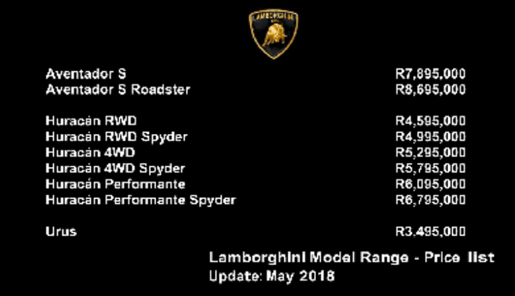 New Lamborghini Dealerships In Joburg Umhlanga And Cape Town R3 4
