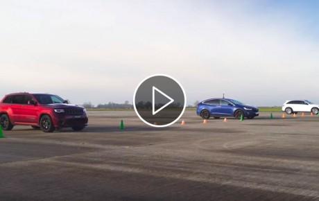 Jeep Trackhawk vs Tesla Model X vs AMG GLC 63